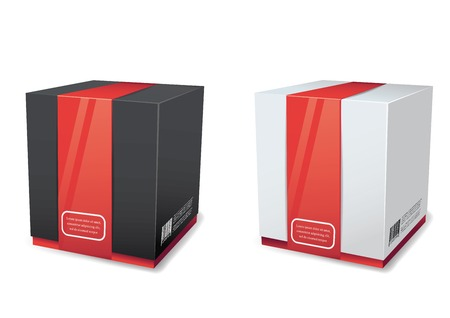 Empty package box mock-up. Vector illustration.?????? Banco de Imagens - 25440859