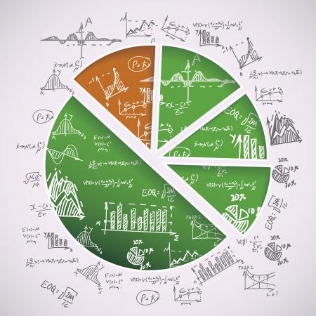 inforgraphic: pie graph with hand-drawn formulas Illustration