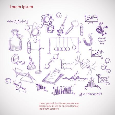 set hand getekende wetenschap symbolen Vector Illustratie