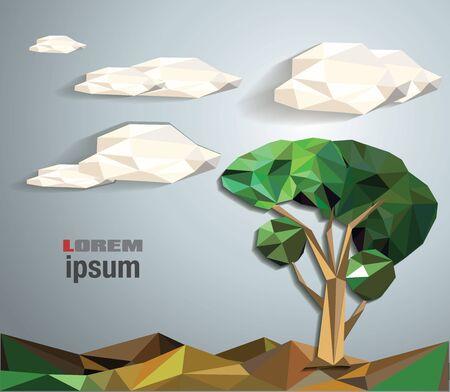low poly summer tree. Vector illustration. Vector