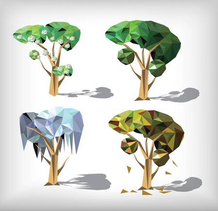 low poly four season trees. Vector illustration. Vector