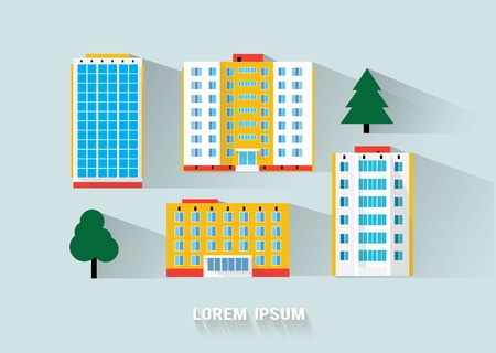 modern office: buildings long flat shadow design Illustration