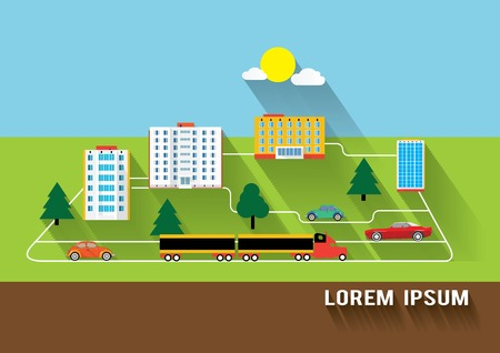 buildings and transport long flat shaddow design Vector