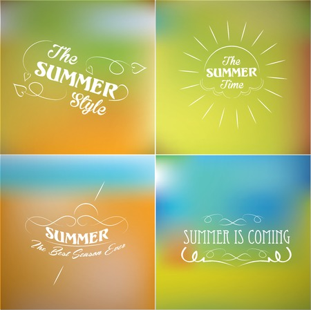 calligraphic design: Summer labels retro elements calligraphic design