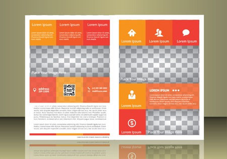 busines: Vector  business brochure or magazine cover. Busines and service icons. Illustration