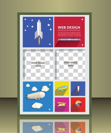 placeholder: brochure design with transportation icons  image placeholder
