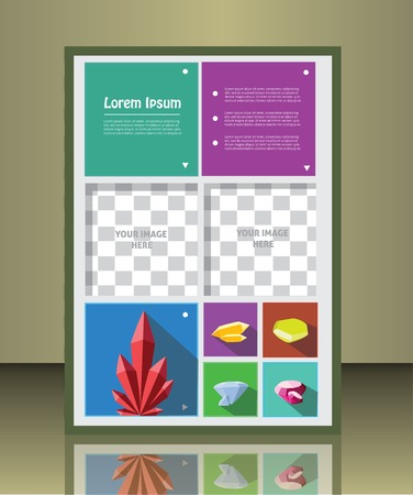 placeholder: Vector  business brochure or magazine cover  template with gems.  image placeholder Illustration