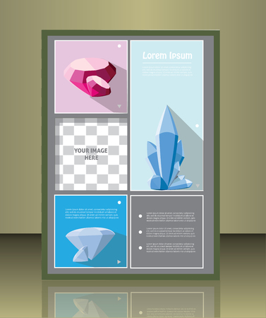 placeholder: Vector brochure or magazine cover  template with gems.  image placeholder
