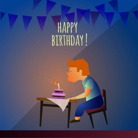 Birthday boy blowing candles.
