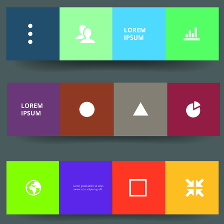 Vector web banners. Vector template of geometric colorful icons and figures. 向量圖像