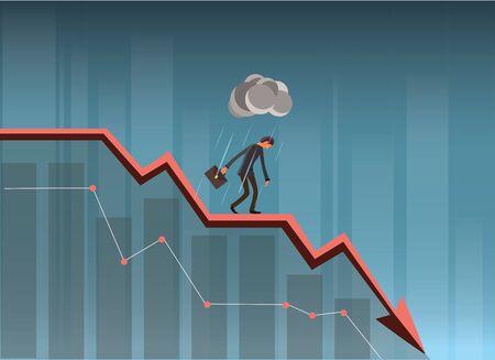 Businessman On Falling Down Chart. Ilustrace
