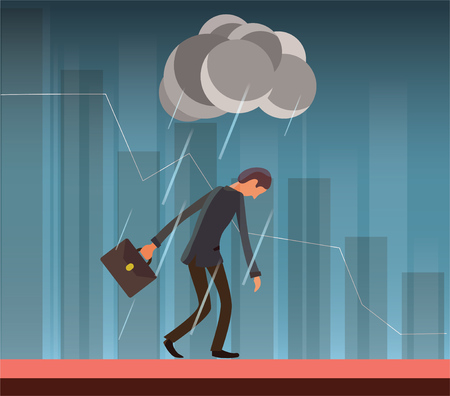 Businessman in the rain vector illustration