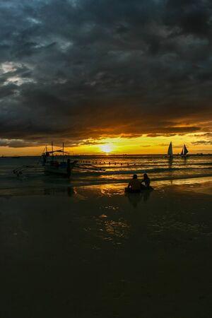 zonsondergang strand Stockfoto