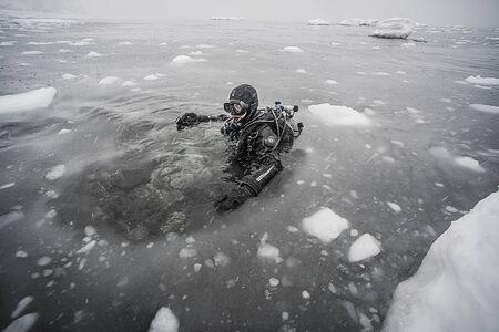 ijsduiken in Hokkaido Stockfoto
