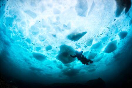 onder ijs Stockfoto