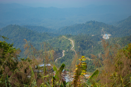 The road through the mountains , In Myanmar that viewpoint at Flagstaff Hill,Kanchanaburi in Thailand. Stok Fotoğraf