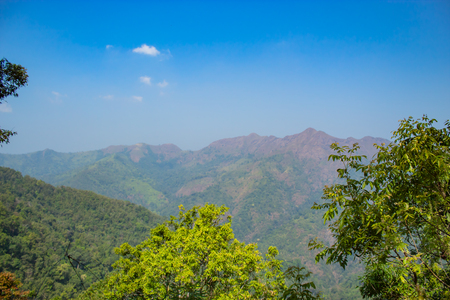 The beauty of the trees and mountains at Nern Chang Puak View Point , Kanchanaburi, Thailand. Stock Photo