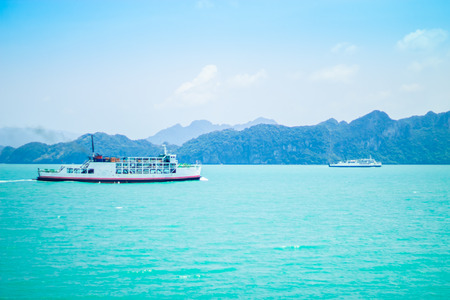 Ferry boat crossing in Sea. Stock Photo