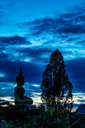 Sunset behind Wat Lad Pha Dook , Temple in Nonthaburi , Thailand. Stock Photo