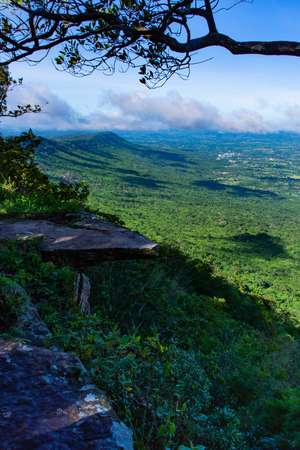 The point of view of the mountains and the town of Chaiyaphum at Pha Hum Hod in Chaiyaphum , Thailand.