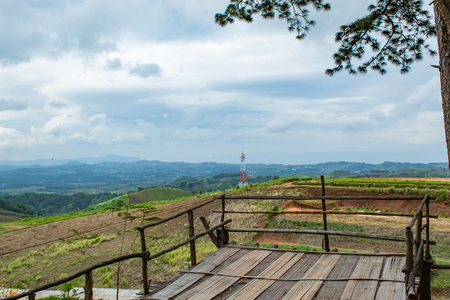 The wooden terrace for tourists sightseeing in the mountains.