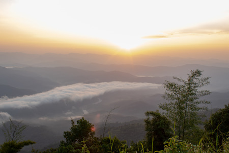 Fog and sun Morning after mountain at Phu Soi Dao National Park, Uttaradit in Thailand.