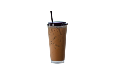 Iced coffee in a plastic glass on a white background.