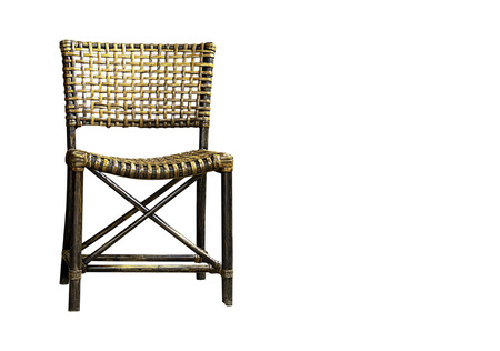 Isolated Old Rattan wood chairs on a white background with clipping path.