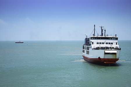Ferry boat crossing in Sea at The Gulf of Thailand, Surat Thani Stok Fotoğraf