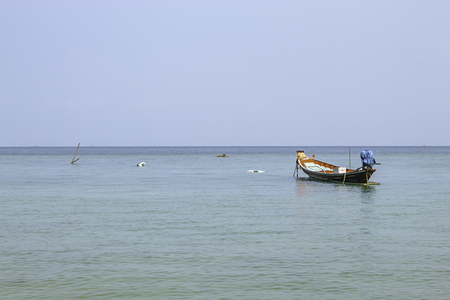 Fishing boats parked on the Beach at Haad salad , koh Phangan, Surat Thani in Thailand. Stock Photo - 119489580