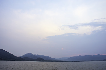 The beauty of the sky and the water at Khong Bung Dam ,Prachuap khiri Khani in Thailand.