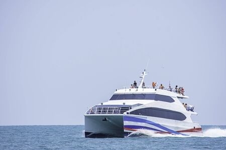 ferry boats transfers visitors in the sea at Koh Kood, Trat in Thailand. March 28, 2019 Redactioneel