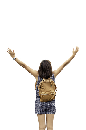 Women raise their arms and shoulder backpack on a white background with clipping path.