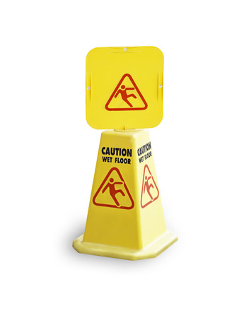 Isolated Warning plates wet floor Made of yellow plastic on a white background with clipping path.