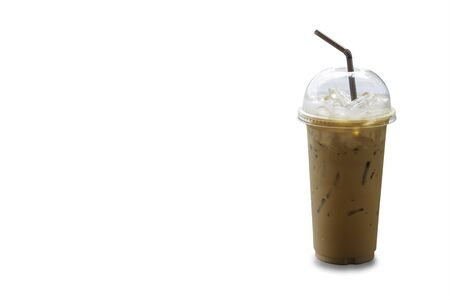 Iced coffee in a plastic glass on a white background