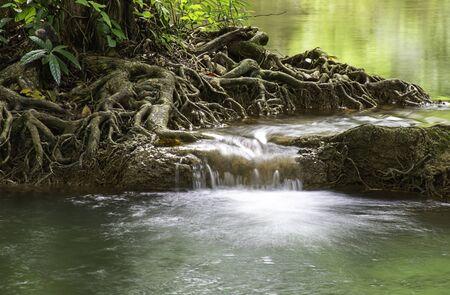 Waterfall flowing from the mountains at Kroeng Krawia Waterfall National Park ,Kanchana buri in Thailand.