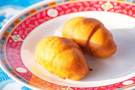 Chinese steamed bun or mantou In a plate on the table.