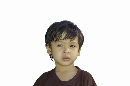 Isolated portrait asian boy wearing a brown, isolated on white background.