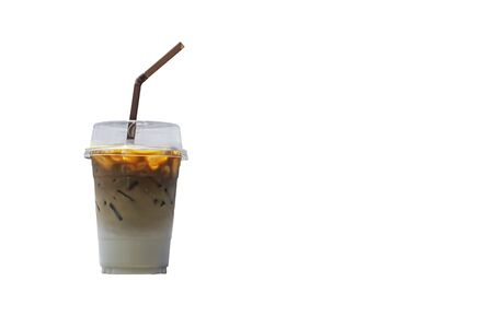 Isolated Iced coffee in a plastic glass on a white background with clipping path. Stock Photo