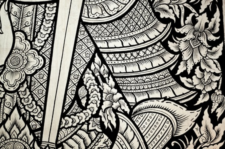antique asian: thai art painting in temple wall. The public art in temple. Editorial