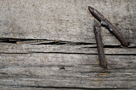 tetanus: Rusty nails on crack wood