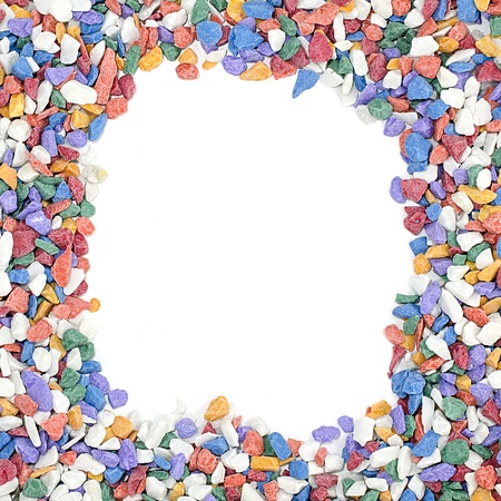 colorful pebble stones frame on white background photo