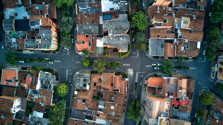 Aerial photo of urban streets of a latin or South American city, this is of Medellin Colombia Stock Photo
