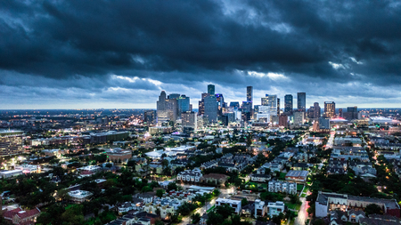 Aerial Photo of Houston City and Weather before Storm