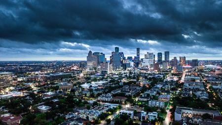 Luchtfoto van Houston City en weer voor storm Stockfoto