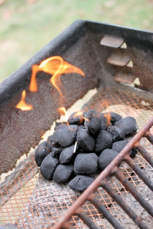 BBQ Anyone , rusted grill with wicked fire coming from the coals at a cookout
