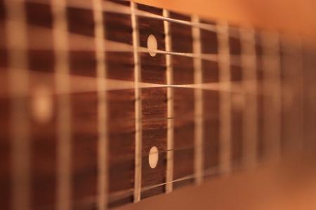 vibrations: Selective focus shot of frets on a guitar