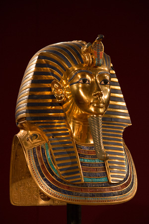 antiquities: Front side view of King Tuts Death mask Stock Photo