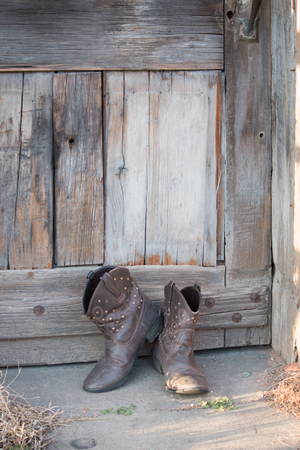 Rustic Leather boots Stock Photo