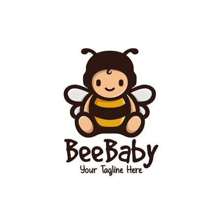 cute bee baby mascot logo illustration